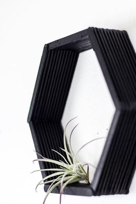 Smart DIY Geometric Wall Shelves With Popsicle Sticks