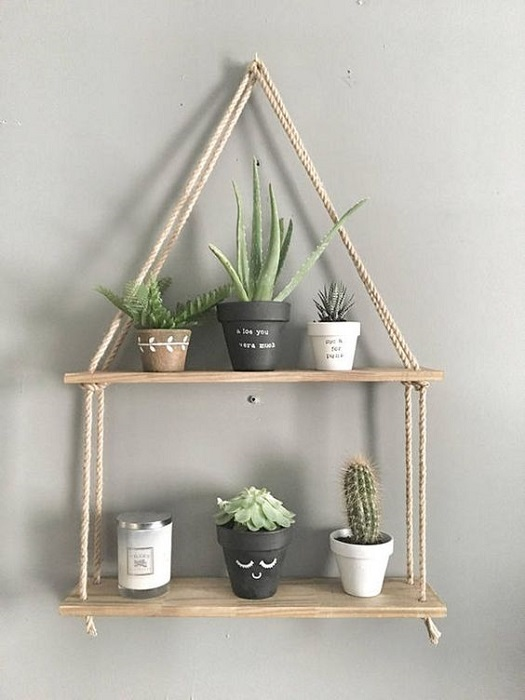 Easy And Exquisite Rope Hanging Shelves DIY For Completing Home Decor