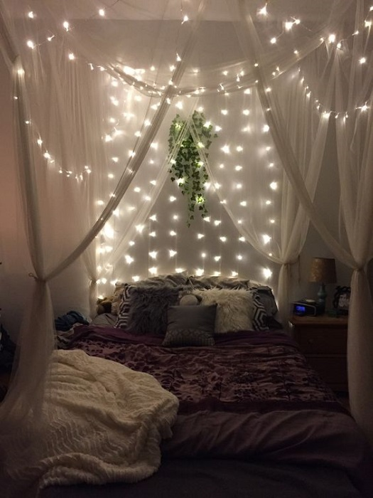 Beautiful Canopy Bed Ideas Combined With Sparkling Lights Decor