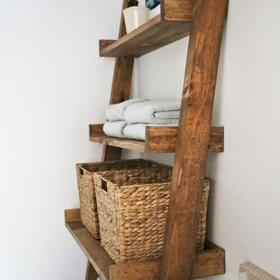 It is Really Inspiring! DIY Floating Ladder Shelf Ideas To Complete Your Home Decor Appearance