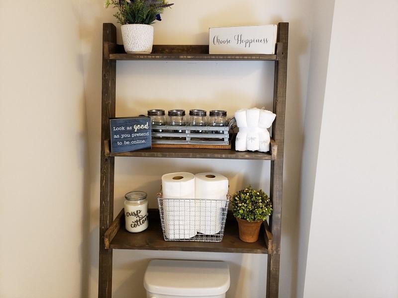 find out diy floating ladder shelf ideas 123homefurnishings. Black Bedroom Furniture Sets. Home Design Ideas